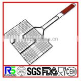 Non-stick 6 hamburger BBQ basket With Wood Handle/ hamburger grilling basket / BBQ hamburger net