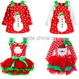 2015 New Christmas Girls Dress Long-Sleeve Dot Dresses Kids Cotton Children's Christmas gift Party Costume princess dress