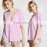 70% polyester 30% cotton t-shirt choker neckline plunging V-cutout Short Sleeve curved hem Tee shirt