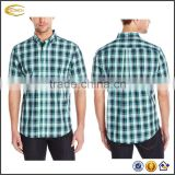 Ecoach Wholesale OEM High Quality 100%cotton Men Block Plaid Short Sleeve Turn down Collar Shirt Button Down Chest Pocket Shirts