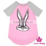 Wholesale Unisex Fashion 100% Cotton Easter Bonny Rabbit Children Kid Stripe Short Sleeve With Sequins T- shirt