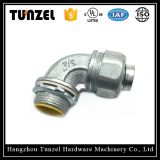 Liquid tight 90 degree malleable flexible conduit connector