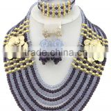 10layers Grey Black Crystal Beads with Brooches Nigerian Jewelry Set