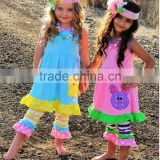 hot sell persnickety outfits girls remark boutique clothing sets bunny appilque long dress