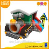 2015 AOQI newest design inflatable train combo with slide for kids with free EN14960 certificate