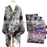 wholesale jacquard vintage pattern bright colored shawl& wrap