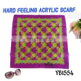 2017 latest design Fashion Saudi Arabia Lady Scarf, Hard feeling Acrylic Scarf, Printed Hijab, square Scarf factory hot sale