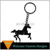 Factory Custom Creative metal gun black plated 3D horse keychain For Sale