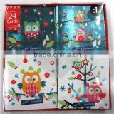2016 latest wholesale christmas greeting card with cute animal designs