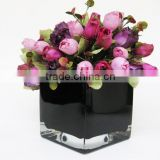 3 sizes black square glass vases glass flower stand vase jar glass