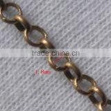 Rose Gold Brass Necklace Chain Types Cup Chain Key Roller Chain