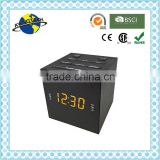 Black Color Cube Shape LED Digital PLL Alarm Clock Radio with USB Charger