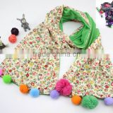 Good Quality Cute Sweet Small Floral Print Colorful Pom Pom Balls Fashion Baby Girls Winter Scarf