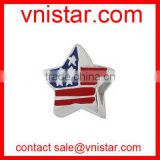 Vnistar star shape USA flag european style large hole metal beads in blue and red color TB074