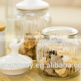 different size glass storage bottles/glass tea canister tin storage /glass jar for dried fruit flower