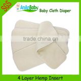 Baby Cloth Diaper Wholesale 4-Layer Organic Hemp Diaper Inserts