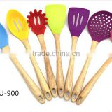 2016 Hot Sale Heat-Resistant Silicone Cooking Utensils Set with wooden handle & silicone kitchen products                                                                         Quality Choice