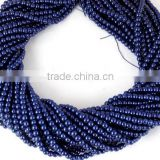 5 Strands Czech Navy Blue Glass Pearl 4.5mm Smooth Rondelle Beads,Acrylic Pearl beads,Jewelry Beads,Pearlized Beads,16""