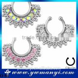 2016 More than 40 designs Zircon Fake Nose Ring Hoop Ring Nose Body Jewelry Fake Septum Rings Piercing wholesale style O 54