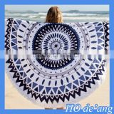 Hogift 2016 New Arrival Summer Large Microfiber Printed Round Beach Towel With Tassel Circle Beach Towel
