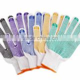 2014 newly design cotton hand gloves with PVC dots, cotton knitted gloves,PVC dotted cotton gloves