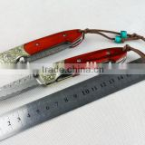 Luxury Damascus Knife Mini Knife with Natural Camwood Handle