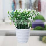 Cheap Artificial Potted Mini Plastic Flower Plant in White Wood Planter for Sell