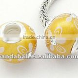 Handmade Polymer Clay European Beads, Goldenrod Jewelry Beads(FPDL-H002-4)