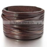 men's large alloy genuine leather bracelet bangle cuff brown silver punk rock adjustable fit 7~9 inch