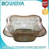 China Boweiya French Rectangular Tempered Glass Container For Foot Bath
