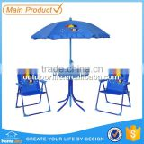 Hot selling kids play table and chair furniture set, folding chair set with umbrella, kids furniture set pink