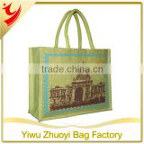 Promotional Burlap Padded Cotton Webbing Handles Jute Bag with Printing