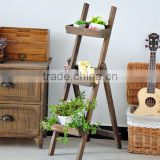 Country style new design popular cheap folding home used / garden standing flower pot shelves / wood flower pot rack