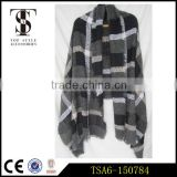 black and white loop yarns checkered wholesale plaid blanket scarf shawl