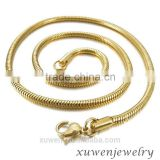 3.0mm gold tone plated round snake 316l stainless steel jewelry chain