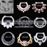 Hot Sale Surgical Steel Hinged Nose Ring Hoop Tribal Fan Fake Septum Indian