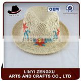 british style straw knitted outdoor plaid brim fedora hat