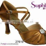 Ankle Strap good quality satin middle heel crystal beads comfortable and fashionable ladies latin salsa dance shoes
