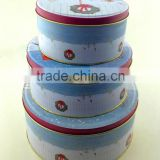 Round christmas nesting tin boxes set for cookies/cupcake