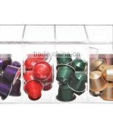Deluxe Clear Acrylic 4 Compartment Hinge Lid Nespresso Capsule Holder / Tea Bag Organizer Storage Box