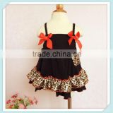 Cotton Baby Girls Ruffled Swing Top Clothing Bloomer Sets Leopard sling Swing Dress Back Outfits Infant GirlsHigh Quality