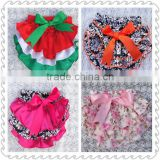 High Quality Cheap Baby Girls Stain Bloomer , Wholesale Various Style Infant Ruffle Bloomer With Bow Design