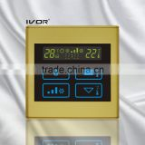 Good Quality IVOR 220V Central Air-Conditioner Thermostat Digital AC Thermostat Switch PC Frame SK-AC2300B Champagne Gold