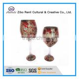 Mosaic glass goblet votive candle holders