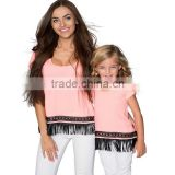 Matching Clothes Mother And Daughter Cotton Polyester Summer Pink Boho Style Fringe Trim Casual Mommy And Me Shirts Tops