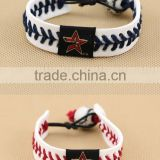 U.S. Major League Baseball leather braided bracelet, baseball sports leather bracelet,custom logo leather bracelet for promotion
