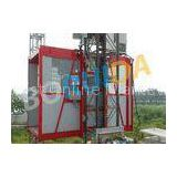 Red Construction Material Hoist Single Cage , Electric Ladder Lift