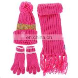Fashion soft feeling lovely beanie, winter hat, acrylic scarf, winter gloves and scarf set