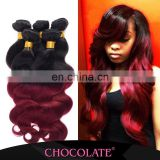 Cheap price Ombre color black &burgundy hair piece Chocolate Human Hair Extension Famous Brand