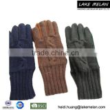 Hot Selling Acrylic Kniited Glove With Lining For AW 16 LMJC-016